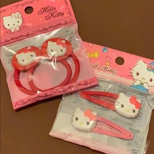 Hello Kitty hairpin and hair tie set from Japan
